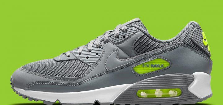 Nike Air Max 90 Gris Argent Neon Vert DJ6881-002 - Comparaland